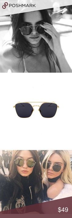 Golden frame black shade sunglasses Many fashion bloggers favorite. Second photo is the real item photo Accessories Sunglasses