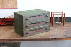 Vintage Industrial EIS Tool Box/ Parts Cabinet w/ Partitioned Drawers - 1940s
