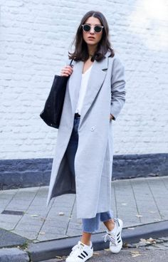 Today's look features the perfect oversized grey coat with my favorite denim & the Adidas Superstars! Long Grey Coat, Grey Coats, Long Coat Outfit, Casual Skirt Outfits, Colorful Fashion, Coats For Women, Mantel, Autumn Fashion, Street Style
