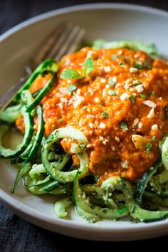 Vegan Lentil Coconut Curry With Cashew Cilantro Pesto Cucumber Noodles