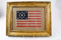 13 Star Antique US United States American Flag Patriotic Centennial in frame