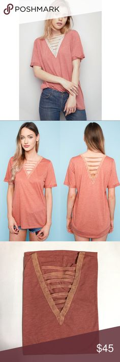 🆕HARPER v-neck ladder T-shirt - BURNT ORANGE V-Neck Ladder T-Shirt - PLS SEE PIC 4 for ACTUAL ITEM & COLOR * 		 *  * Fabric 65% POLYESTER 35% RAYON  🚨NO TRADE🚨 🚨PRICE FIRM🚨 Bellanblue Tops Tees - Short Sleeve