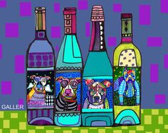 50% Off - Pit bull Wine Art Art Print Poster by Heather Gallers by Heather Galler Wine Bottles Dog Winery Funny Kitchen (HG764)