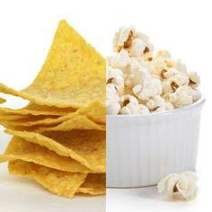 Tortilla chips are often considered a healthy alternative to potato chips. They are certainly healthier, but an even better snack is homemade air-popped popcorn, which has 80% less saturated fat than tortilla chips and more than twice the fiber.