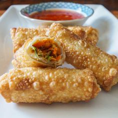 Chinese Egg Rolls filled with Pork, Carrots, Napa Cabbage and Shiitake Mushrooms {Via @Tara's Multicultural Table}