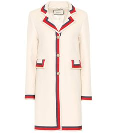 Gucci Gg Web Single Breasted Coat In White White Trench Coat, Wool Trench Coat, Wool Coats, Pink Wool Coat, Pink Coats, Gucci Coat, Gucci Gucci, Stylish Coat, Coat Dress