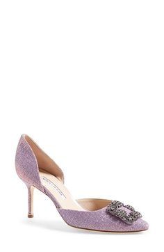 Manolo Blahnik 'Hangisi' Pointy Toe d'Orsay Pump (Women) (Nordstrom Exclusive) available at #Nordstrom