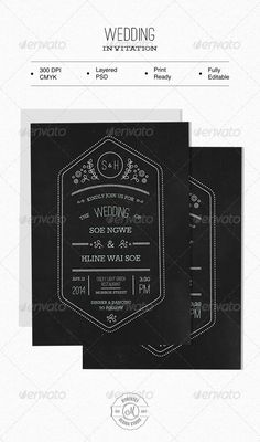 Wedding Invitation — Photoshop PSD #chalkboard #photo frame • Available here → https://graphicriver.net/item/wedding-invitation/6366741?ref=pxcr