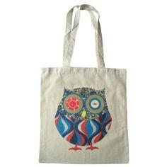 Owl cotton tote bag vintage fabric and button design par sugarushuk, £5.99