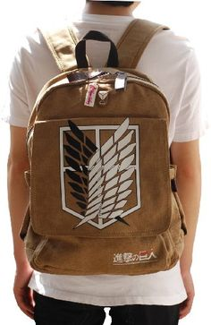 New Attack on Titan Survey Corps Cosplay Backpack Shingeki No Kyojin School Bag Khaki. Omg I'd look like a nerd but I have to have this pack!