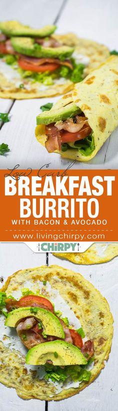 "Breakfast ""Burrito"" with Bacon and Avocado"