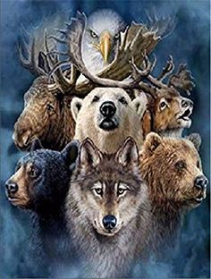 5D Diamond Painting Kit DIY Rhinestone Embroidery Cross Stitch Arts Craft for Home Wall Decor Three Wolves 12x16 inch