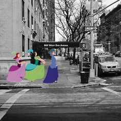 """In the visual series, """"Moments Like These,"""" NY-based photographer Harry McNally captures a variety of images that reveal the grittiness of New York City and merges them with whimsical cartoons. Check out more pictures from this album"""