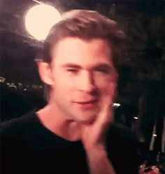 Clearly he knows he's the best brother, as he is eager to touch his own face and bite his own lip. | Indisputable Evidence That Chris Hemsworth Is The Superior Hemsworth Brother