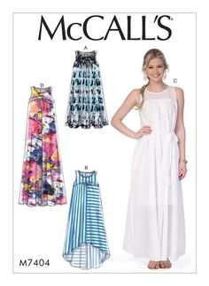 Misses' Dresses with Yokes, and Belt in various lengths. McCall's M7404 sewing pattern.
