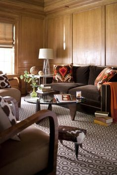 Transitional Living Room Design Ideas - Search transitional living-room embellishing ideas as well as furnishings formats. Discover design motivation from a range of transitional living rooms, including color, . Living Room Designs, Living Room Decor, Living Spaces, Sala Chocolate, Chocolate Brown, Living Room Orange, Wood Panel Walls, Wood Paneling, Paneled Walls