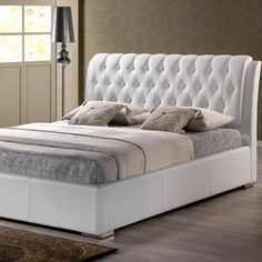 Bianca Transitional White Faux Leather Upholstered Queen Size Bed