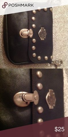 Harley Davidson pouch purse Black soft leather, great shape, when I am riding the clips hook into my belt buckles, great for phone, ID and of course LIPSTICK 💄 Harley-Davidson Bags Satchels
