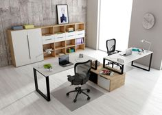 Convierte tu hogar en una partida de tetris Office Furniture Design, Workspace Design, Office Workspace, Office Interior Design, Office Interiors, Small Office Design, Diy Cabinet Doors, Open Space Office, Office Wallpaper