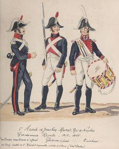 Regno Di Napoli (Joachin Murat) - Gendarmeria Reale, 1813-1815 - Gendarme Ufficiale a cavallo, Gendarme a piedi, Tamburino