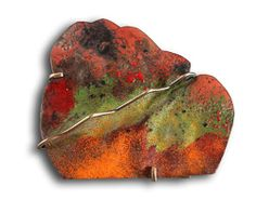 """Montserrat Lacomba Brooch: A Forest for M, 2013 Enameled and oxidized copper, oxidized silver 55x63x10 mm From """"Dreamed Landscapes"""" Series"""