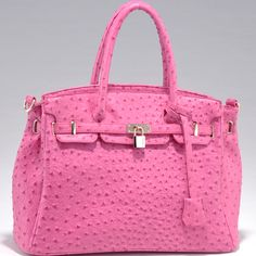 Free Shipping NEW Pink Belted Ostrich Texture Satchel Bag-Purse with Key & Lock Accent $44.99
