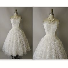 50's Wedding Dress // Vintage 1950's White Tulle Lace Strapless Wedding Dress Gown XS. $268.00,   I know this isn't for bridesmaids but it's georgous