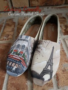 Paris Themed Toms Shoes by ZacharyConnellyArt on Etsy, $170.00