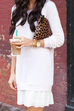 Pleated Sweatshirt Dress.
