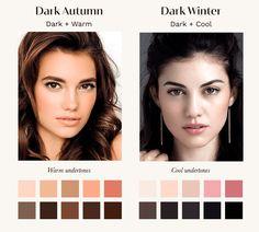 Paleta Deep Winter, Deep Autumn Color Palette, Deep Winter Colors, Dark Autumn, Dark Winter, Dark Fall Hair, Winter Typ, Seasonal Color Analysis, Winter Makeup