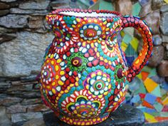 Upcycled Ceramic Pitcher Multi Color Multi Pattern by CrazieHappy, $95.00