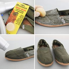 Life Lessons: How to Waterproof Your Shoes. As rainy and snowy seasons draw near, it's time to winterize and waterproof all your favorite wearables. That old pair of Toms or Vans isn't getting any more waterproof as the months go by, and you've gotta keep your toesies warm! Here's a ridiculously easy way to waterproof your canvas shoes using nothing but beeswax and a blowdryer.