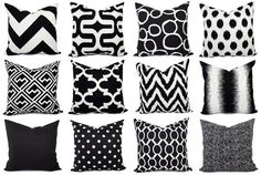 Black and White Pillow Cover  Modern Black by CastawayCoveDecor