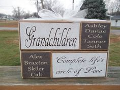 Personalized Grandparents complete lifes circle of love primitive wood block set grandchildren names home decor birthday mothers day gift