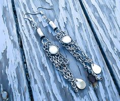 Items similar to Opal Chain Earrings - Long chain earrings - Industrial earrings - Opal earrings - Steampunk Earrings - Hardware earrings - Steampunk jewelry on Etsy Wire Wrapped Jewelry, Wire Jewelry, Handmade Jewelry, Unique Jewelry, Opal Earrings, Chain Earrings, Industrial Earrings, Etsy Co, Steampunk Earrings
