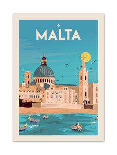 """€25 . Affiche  Illustration Originale Malta """"Souvenir from Valletta"""" . Papier 350/m² Couché Mat"""