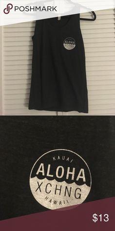 NWOT Kauai Hawaii Aloha Exchange Tank Top Printed on American apparel tank top. Dark Gray/ Black American Apparel Tops Tank Tops