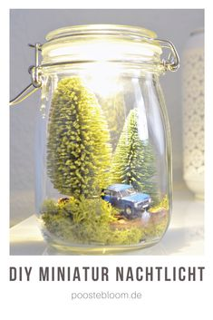 DIY Miniatur-Nachtlicht im Glas Glass Jars, Candle Jars, Faith Crafts, World Crafts, Light Garland, Nature Table, Harry Potter Diy, Jar Lights, Mason Jar Diy