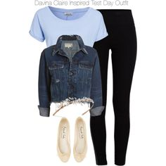 A fashion look from February 2015 featuring Noisy May, cropped denim jacket and striped pants. Browse and shop related looks. Dressy Outfits, Jean Outfits, Chic Outfits, Fall Outfits, Inspired Outfits, Tv Show Outfits, Fandom Outfits, Davina Claire, Kpop Fashion Outfits