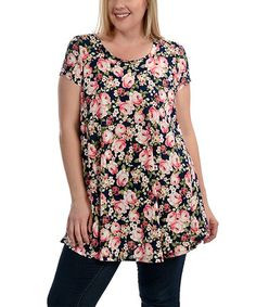 Another great find on #zulily! Black & Cream Floral Swing Top - Plus #zulilyfinds