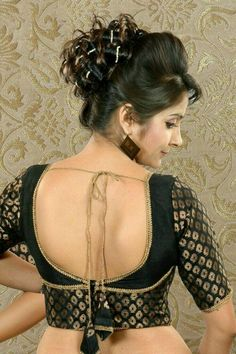 Stylish and Trendy Blouse Back Neck Designs - Fashion Brocade Blouse Designs, Patch Work Blouse Designs, Simple Blouse Designs, Saree Blouse Neck Designs, Stylish Blouse Design, Designer Blouse Patterns, Black Blouse Designs, Blouse Neck Patterns, Choli Designs