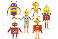 Check out Cute Robots Digital Clip Art by SA ClipArt on Creative Market