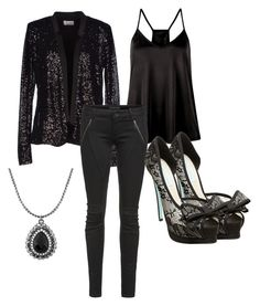 """""""Black sequin blazer outfit."""" by a-k-berg on Polyvore"""
