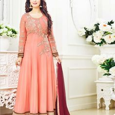Ayesha Takia Peach Bollywood Anarkali Suit » Shoppers99 #ayeshatakia #bollywood #anarkalisuit #anarkalidress #partywear #partydress #eid #india #ethnic