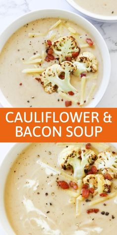 This creamy and heart cauliflower and bacon soup is the perfect comfort food for a cold winter s night. Top your soup off with some crispy bacon bits, cracked pepper and some crusty croutons. Clean Recipes, Healthy Dinner Recipes, Soup Recipes, Cooking Recipes, Kebabs, Cauliflower Bacon Soup, Curry, Comfort Food, Cold Meals