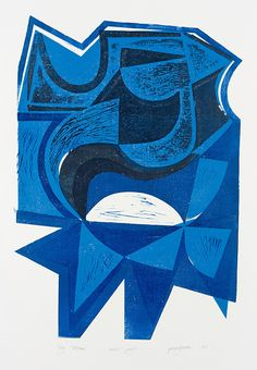 """Peter Green """"Sky Totem"""" woodcut and stencil print"""