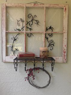 Old Window with shelf and original filigree art by RightUpMyAlleyDesign on Etsy https://www.etsy.com/listing/191585154/old-window-with-shelf-and-original