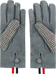 Thom Browne: Grey Houndstooth Gloves  size small