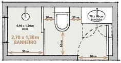 Banheiro tamanho / metragem básica / bathroom size basic