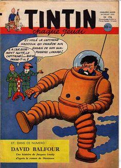"""""""Et voilà le capitaine Haddock qui procède aux essais de son scaphandre lunaire !"""""""